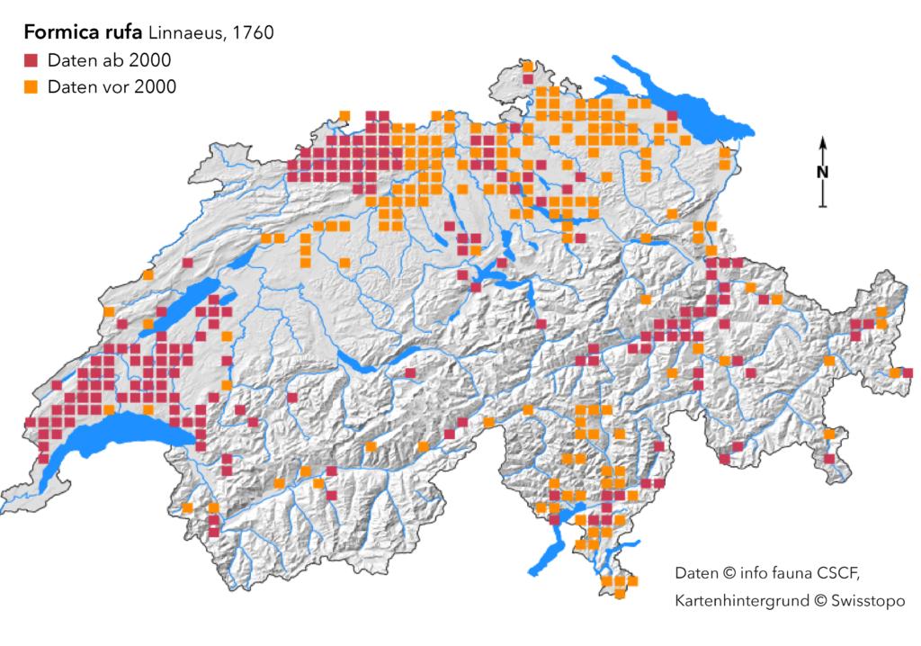 cscf Verbreitungskarte Formica rufa, 2020 01 17, Grafik cc by nc nd, isabelle trees, frauennkappelen, switzerland