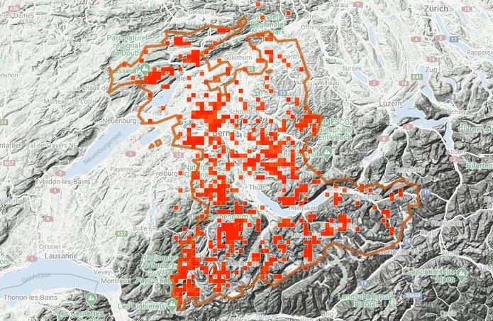 Karte mit 3000 Meldungen im Kanton Bern im Jahr 2020. CC BY SA 4.0 iNaturalist
