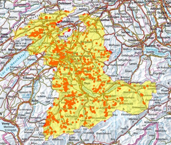 Gesucht Waldameisen. Füllen Sie die Lücken. Karte von geo.admin.ch. Grafik CC BY SA 4.0 Isabelle Tress Switzerland